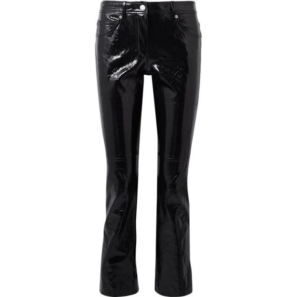 Helmut Lang Crinkled patent-leather slim-leg pants (€1.245) ❤ liked on Polyvore featuring pants, trousers, crop length pants, flare trousers, cropped flared trousers, helmut lang trousers and crinkle pants
