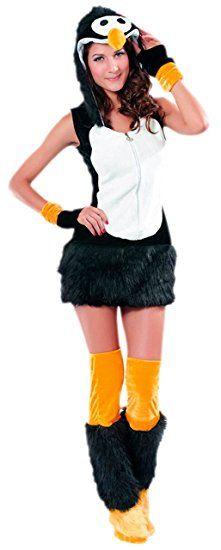 erdbeerloft - Damen Kostüm Karneval Pinguin Plüsch Kleid, S/M, Schwarz