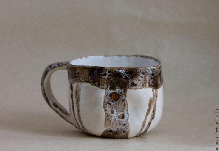 Купить Парные кофейные чашки-неразлучники - коричневый, кофейная чашка, авторская керамика