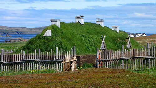 L'Anse aux Meadows, recreated long house, the archaeological site of Viking settlement in North America (Canada).