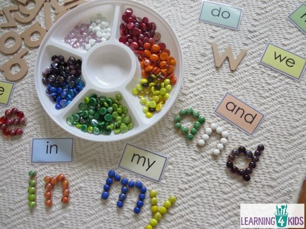 Create sight words with wooden letters and glass gems.  Free printable sight word cards at Learning 4 Kids
