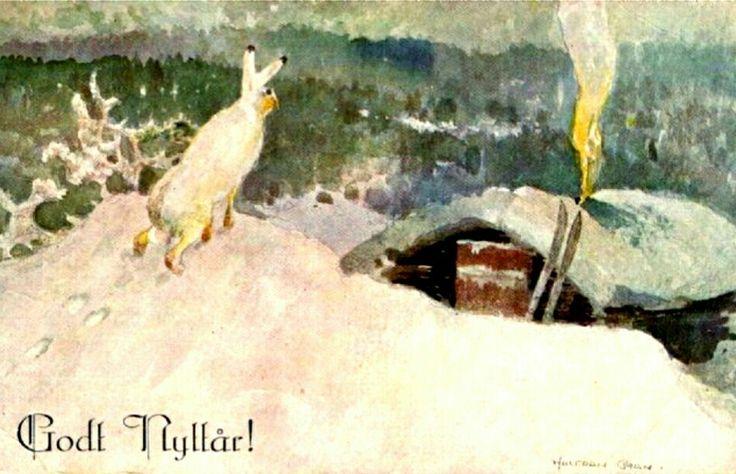 Nyttårskort Halfdan Gran Utg Mittet stemplet 1943