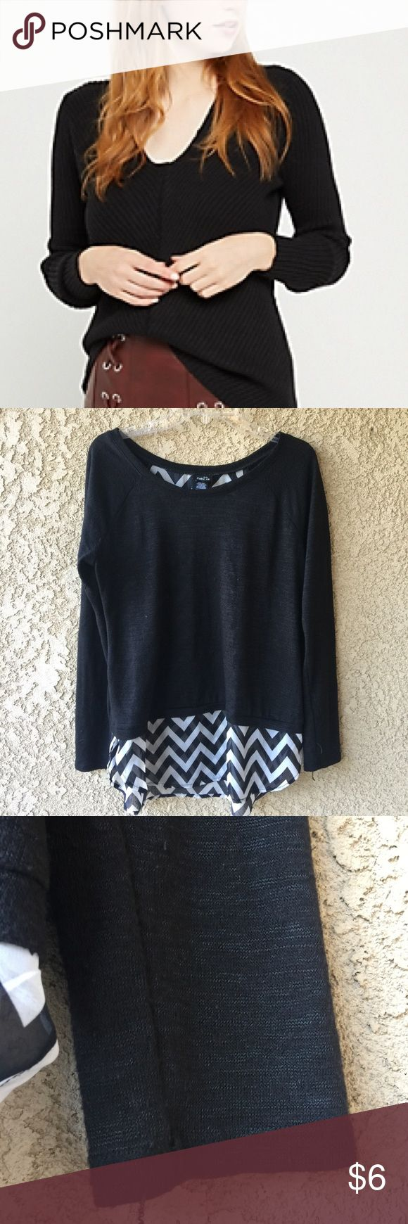 Black Chevron Top Rue 21 chevron top. There is pilling and run on the chevron back. No holes or stains.   ➖ Arm pit to arm pit is about 22 inches ➖ Sleeve length is about 25 1/2 inches  ◻️ Make an Offer or Bundle  ◼️ No Trades ❓ Questions? Just Ask!   ❌🚬 Smoke & ❌ 🐶🐱 Pet Free Home Rue 21 Tops Tees - Long Sleeve