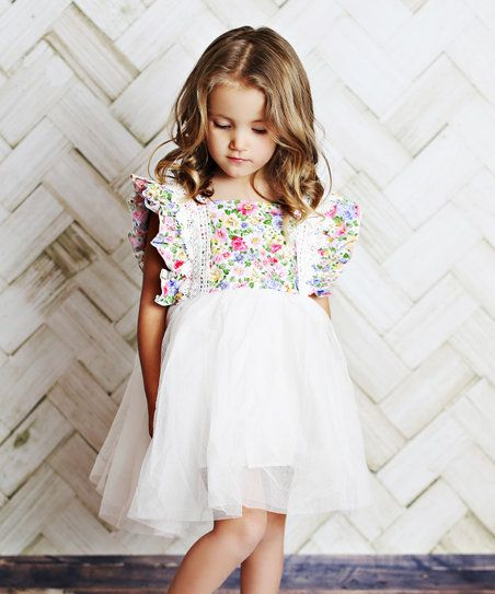 Lollies and Lace Boutique White Floral Angel-Wing Dress - Infant, Toddler & Girls | zulily