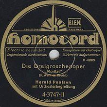 """Un peu d'histoire? voilà l'article du Wikipédia allemand sur la chanson """"Mackie Messer"""" (cliquez dans la colonne de gauche pour avoir directement accès à l'article en français - moins complet cependant)"""