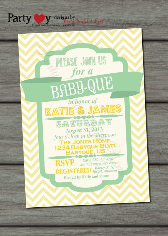 BBQ Joint Baby Shower, Light Yellow, Green, Co-ed, Barbeque Baby Shower, DIY, Chevron, Retro, Typography - Digital Print File on Etsy, $10.00