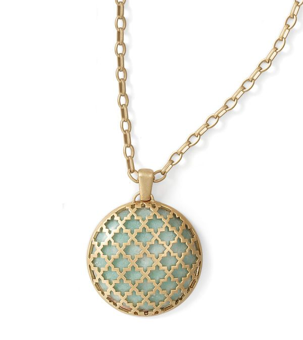 "Marrakesh Necklace. Adjustable 32-35"" Necklace  Inspired by ancient tile work, this pendant necklace, with a removable extender chain, features an intricate cutout pattern atop a cabochon of genuine amazonite. Kiam Collection $118.00"