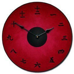 Japanese Wall décor is truly mystical, enchanting and  beautiful. Chances are you have seen  those pretty Japanese wall fans or a captivating cherry blossom painting. Either way Japanese home wall art décor is  stylish, unique and very popular in homes across the USA.   Kanji Red Wall Clock, Available in 8 sizes, Whisper Quiet, non-ticking