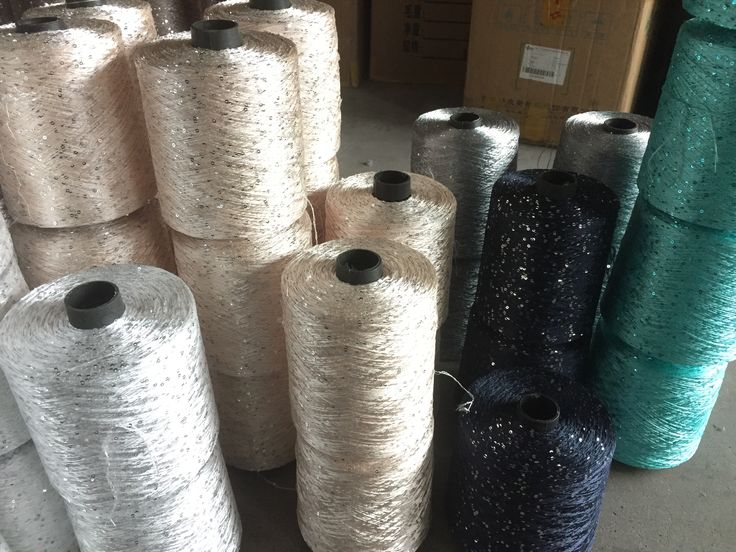 100% Polyester sequin yarn  Yarn count: 1/5NM Use:Knitting,Hand Knitting,Sewing,Weaving
