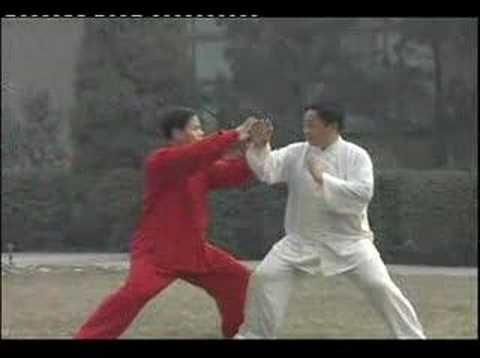Tai Chi Push Hands exercise /// Pushing hands or tuishou is a name for two-person training routines practiced in internal Chinese martial arts such as Baguazhang, Xingyiquan, T'ai chi ch'uan (Taijiquan), Liuhebafa, Quan Fa, Yiquan. Pushing hands is said to be the gateway for students to experientially understand the martial aspects of the internal martial arts ; leverage, reflex, sensitivity, timing, coordination and positioning. [[[ http://en.wikipedia.org/wiki/Pushing_hands ]]]