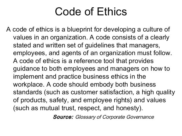 corporate code of ethics Our corporate code of ethics is supported by written policies and procedures on  each of these standards, by providing training to employees on the details and.