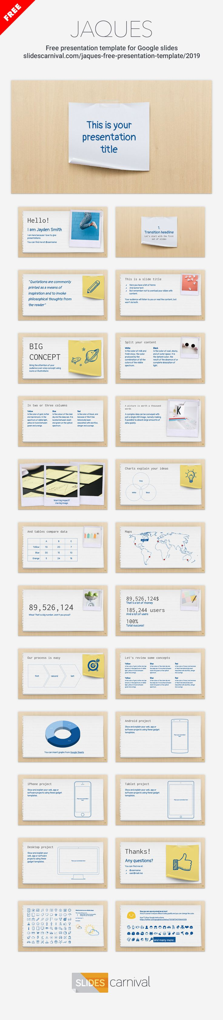 This free design mimics a paper sheet with polaroid photos and post-its. It's a theme really fun to use in educational presentations, to explain your lessons or a creative project in your class, although it's also suitable for conferences.