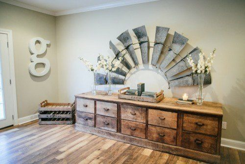 Fixer upper season two - like the 1/2 windmill as wall art.  Revere Pewter on the walls