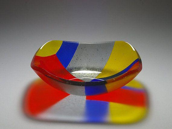 Geometric Feature Bowl Fused Art Glass by RocketRoseArt on Etsy