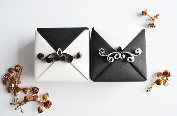 Set of 2 Black Origami Wedding Gift Box, Unique Wedding Gift Box with Quilling Ornament, Small Origami Jewelry Gift Box