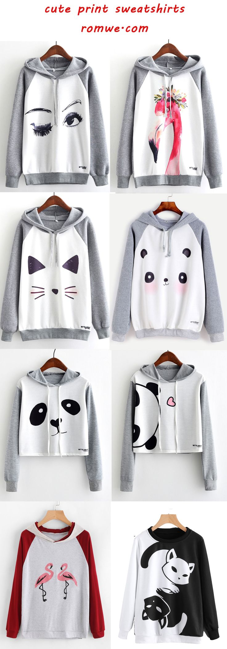 cute print sweatshirts 2017 - romwe.com