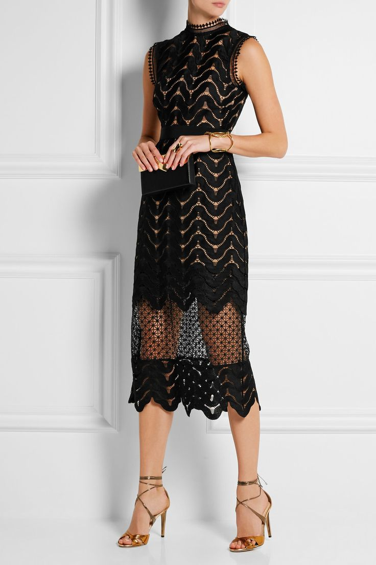 Self-Portrait | Embellished guipure lace midi dress | NET-A-PORTER.COM