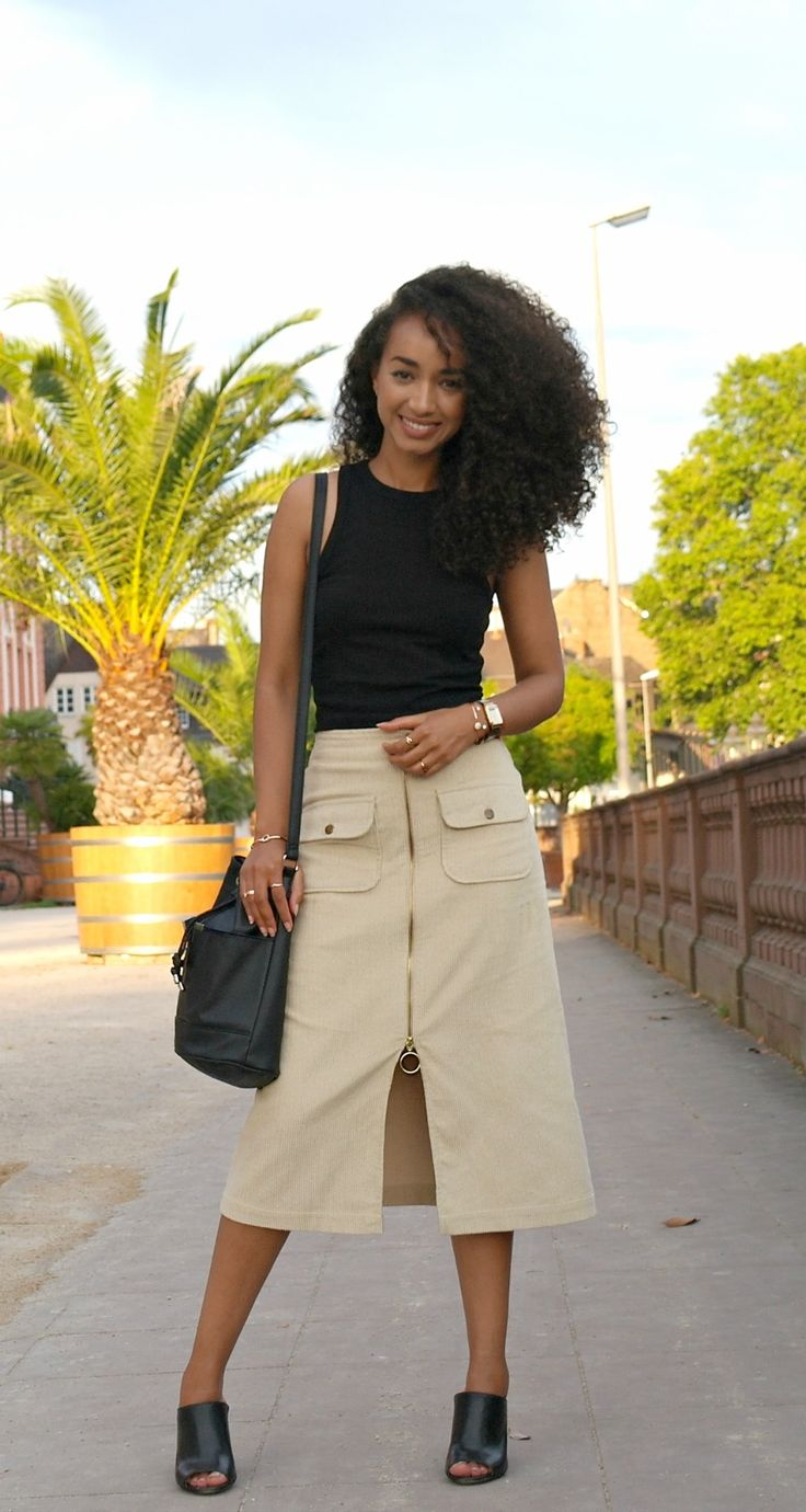 Outfit: Zip Front Midi Skirt and Top with Heels Mules and Bucket Bag