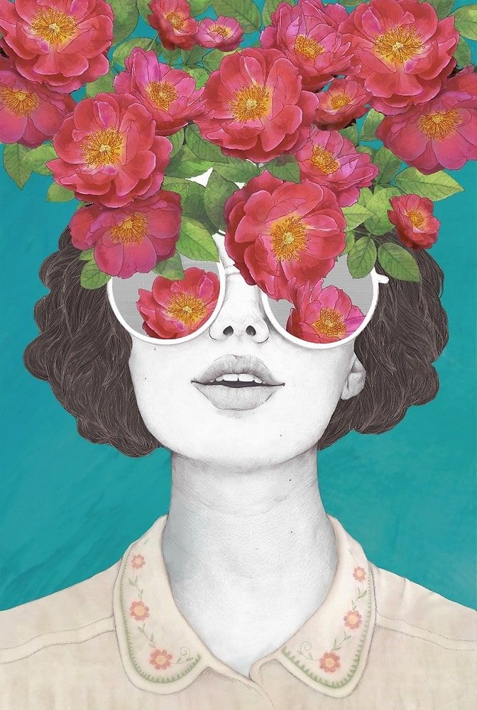 'The Optimist/Rose Tinted Glasses' by Laura Graves. Read our interview with Laura and see a collection of her affordable art online at theartfolk.com