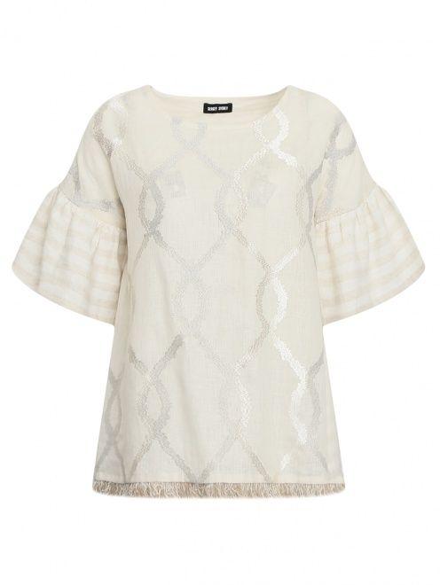 Блуза из льна и хлопка с узором и бахрамой - Общий вид