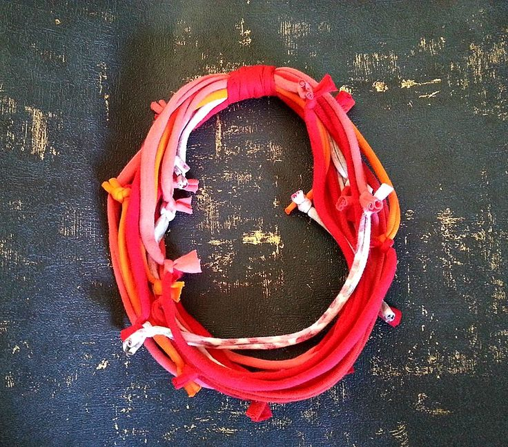 Textile Necklace   Handmade with reclaimed t-shirting    https://cherryberry.felt.co.nz