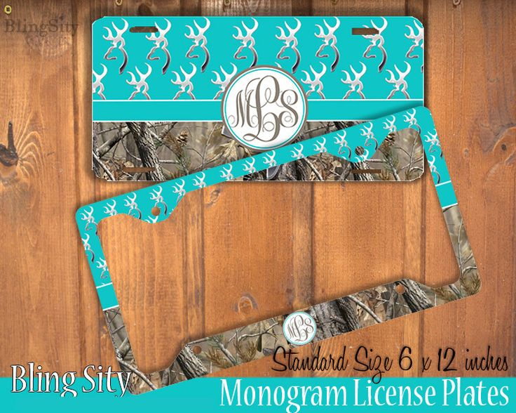 Aqua Camo Monogram License Plate Frame Holder Metal Wall