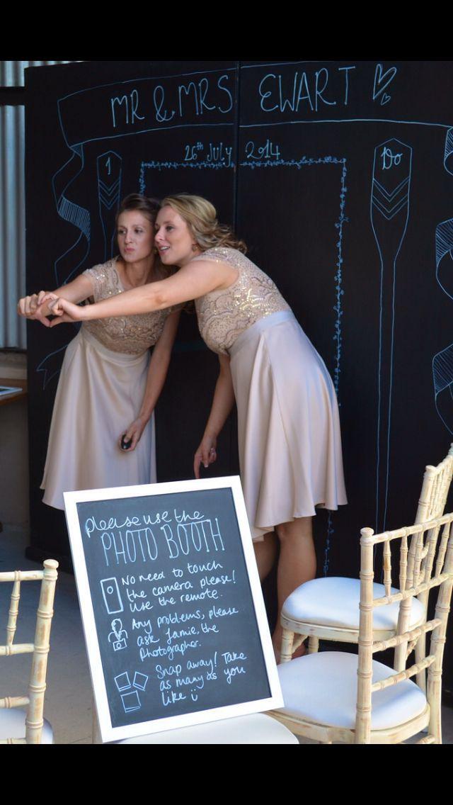 Bridesmaids using the photobooth