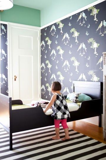 Sophisticated Girl 39 S Room With Navy Wallpaper Mint Green