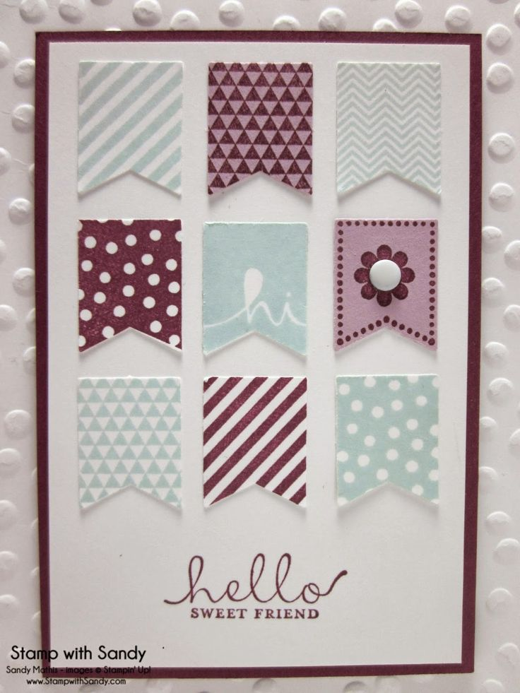 2014 Stampin' Up Products Used: Stamp Sets: Banner Blast, Six Sided Sampler Card Stock: Whisper White, Rich Razzleberry, Pale Plum Ink Pads: Rich Razzleberry, Soft Sky Tools: Big Shot, Decorative Dots Embossing Folder, Banner Punch Accessories: Neutrals Candy Dots