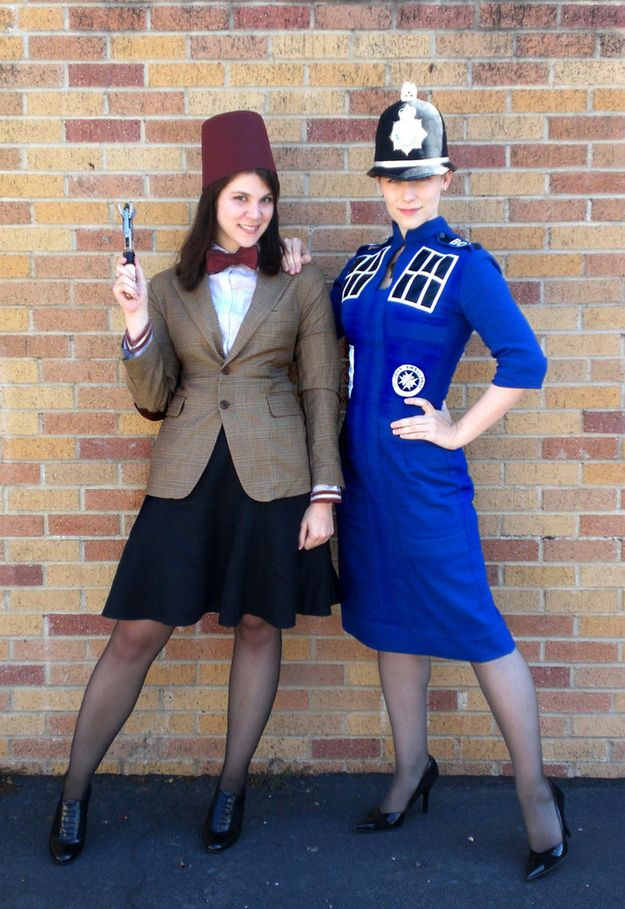 The Eleventh Doctor and TARDIS | 30 Unconventional Two-Person Halloween Costumes  why does the tardis have a police hat on? weird.
