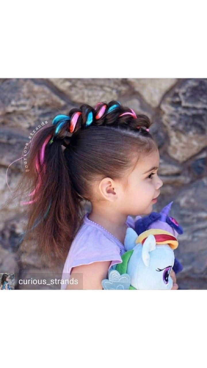 unicorn hairstyle: add a headband with a horn first & then