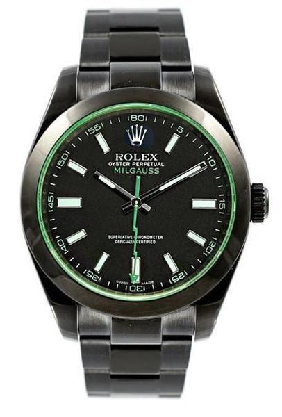 Rolex Milgauss 116400GV Custom DLC PVD Stainless Steel Green Sapphire & Second Hand-Rolex DLC-PVD-Rolex-The Luxury Upgrade