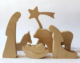Moderne houten kerststal - GEOLIED, houten geboorte, geboorte Set, kerststal, geboorte cijfers, geboorte silhouet, houten cijfers