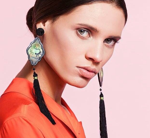 Safari Deco monkey earrings with fringe... Styled by Daria Di Gennaro Photo Antonio Barrella Hair/Makeup Danilo Spacca and Silvia Neri Model Alene Souza