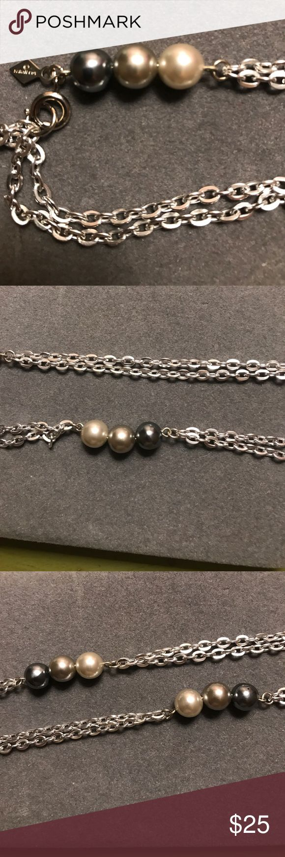 Stamped 1960s sarah coventry necklace Pearls in dark gray light gray and ivory tones on a sparkling silver chain. Stamped tag Sarah Coventry Jewelry Necklaces