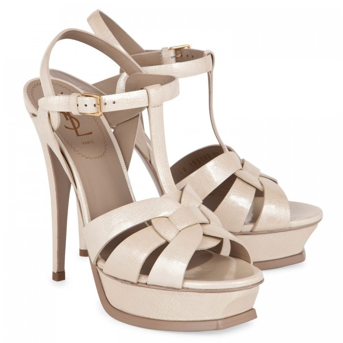 white pearl ysl tribute sandals shoes