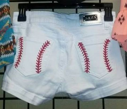 Hand painted baseball stitch shorts BACK IN STOCK!!