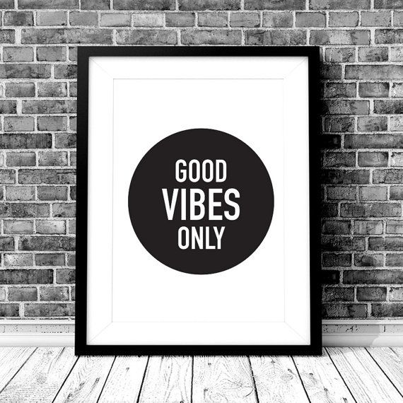 GOOD VIBES ONLY Digital Download  Monochrome A4 by StaceyLeeLoves  GOOD VIBES ONLY A4 Digital Download. Instantly download, print & frame to display around the home or office!