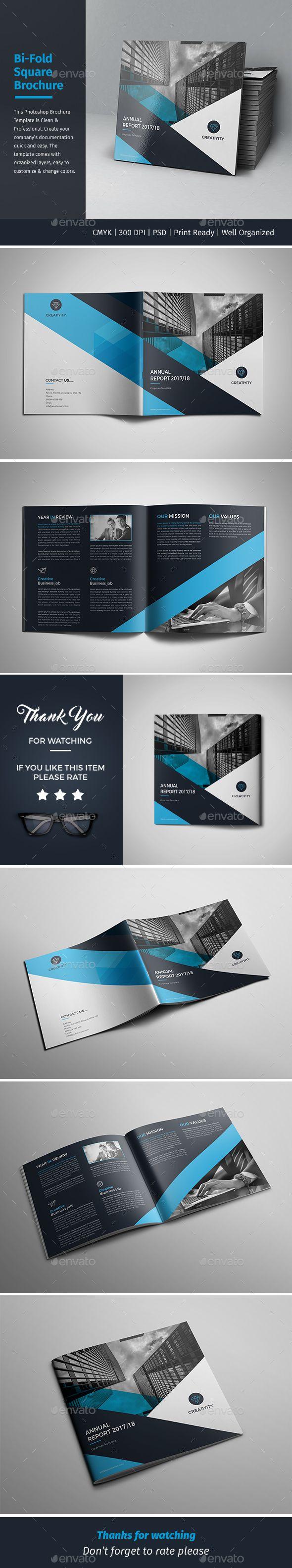 Corporate Bi-fold Square Brochure Template PSD
