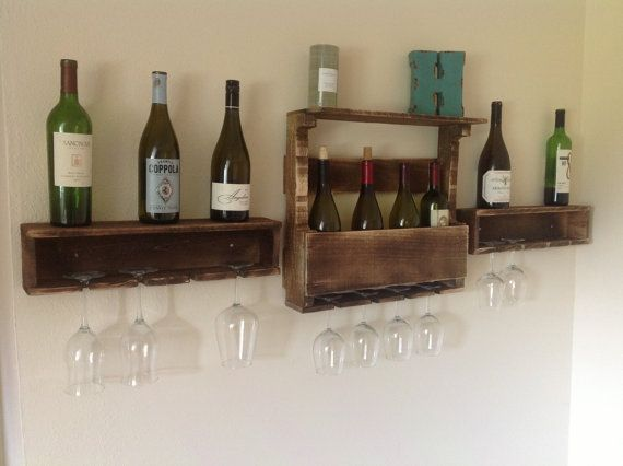 reclaimed wood wine rack and floating glass holders. Black Bedroom Furniture Sets. Home Design Ideas