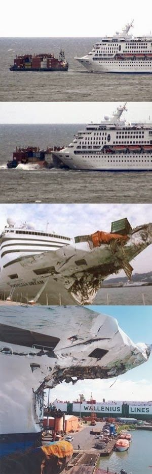 Cruise ship Norwegian Dream collision with the container carrier Ever Decent in 1999 Google+