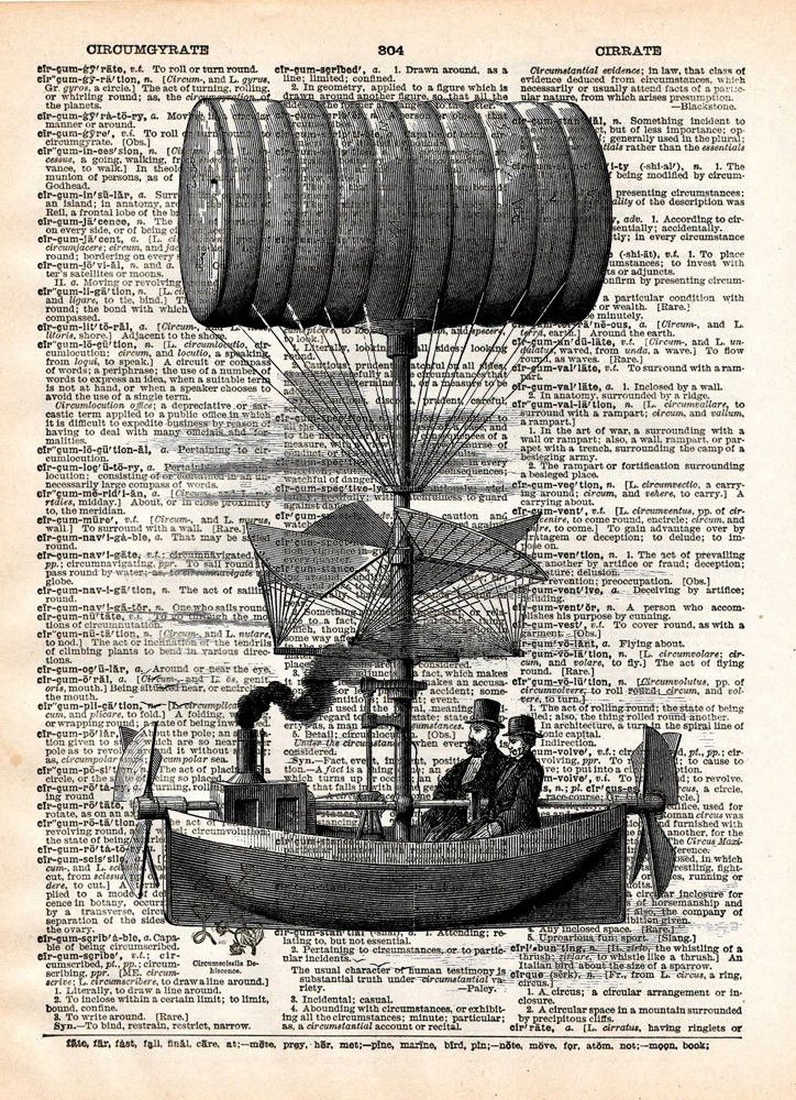 Steampunk steamship is the latest victorian technology, vintage illustration on dictionary page book art print