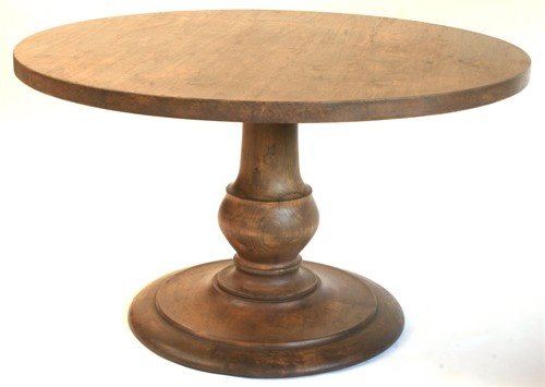 52 inch round pedestal solid alder dining table hand made in Portland  Oregon and wearing a distressed antique living finish which will resist  water   11 best round pedestal table images on Pinterest   Dining room  . Arlington Round Sienna Pedestal Dining Room Table W Chestnut Finish. Home Design Ideas