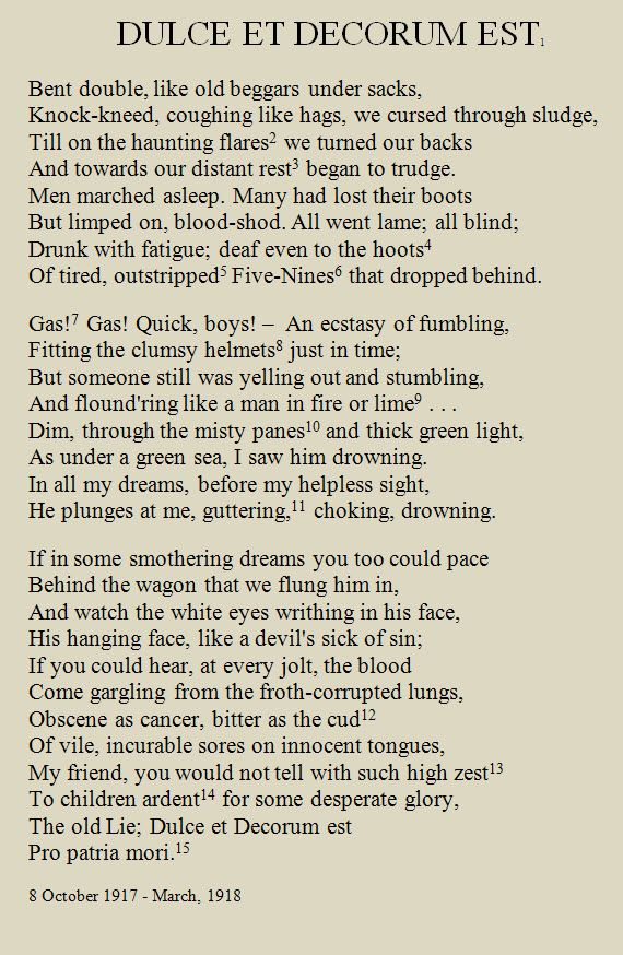 wilfred owen dulce et decorum est Freebase (000 / 0 votes) rate this definition: dulce et decorum est dulce et decorum est is a poem written by poet wilfred owen in 1917 during world war i, and.