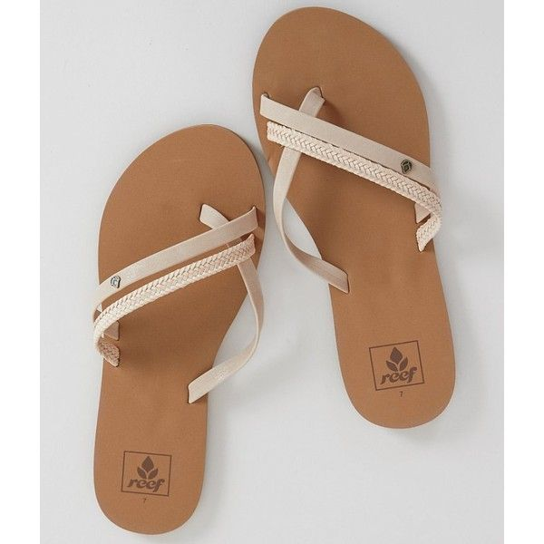 Reef O'Contrare Flip ($26) ❤ liked on Polyvore featuring shoes, sandals, flip flops, cream flip flops, vegan sandals, strappy shoes, flip-flop sandals and strap flip flops