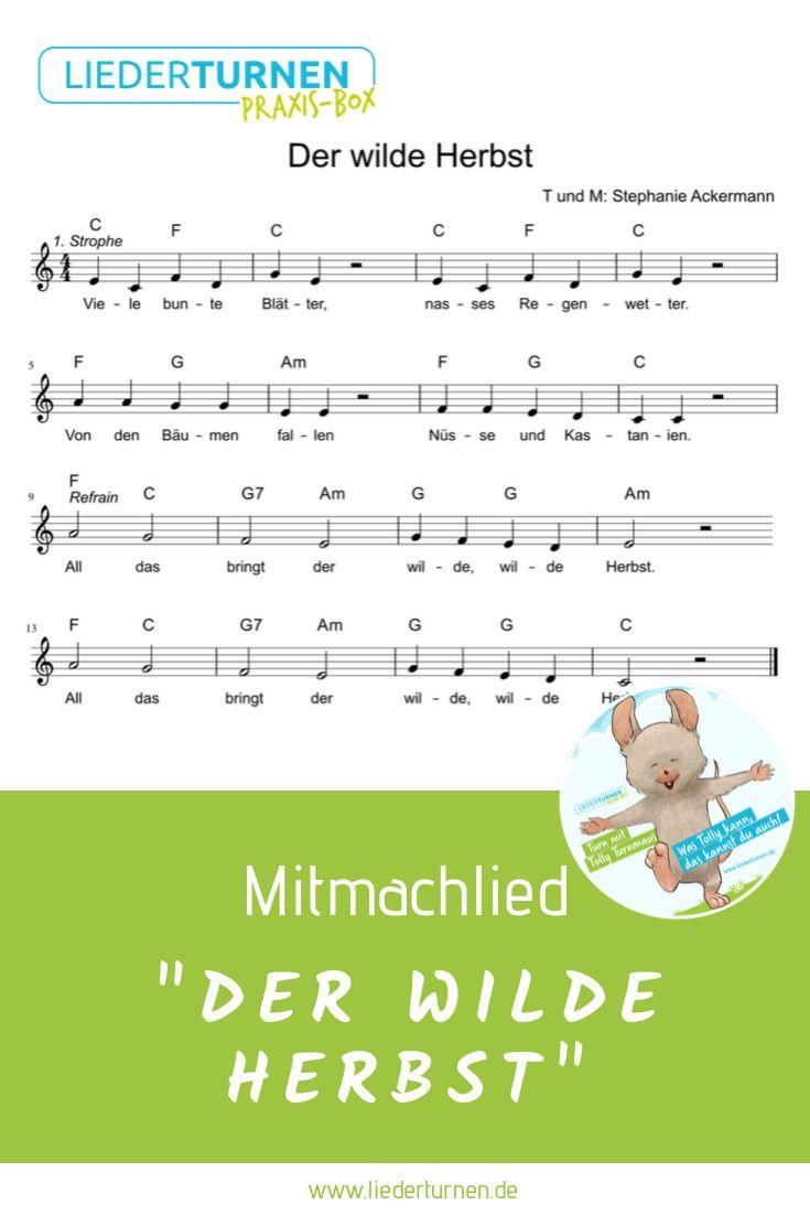 """""""Der wilde Herbst"""" Mitmachlied Noten – Liederturnen"""