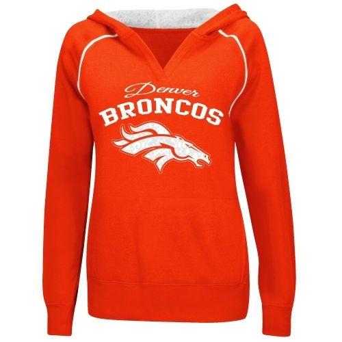 Majestic Denver Broncos Women's Orange Preseason Favorite IV Pullover Hoodie