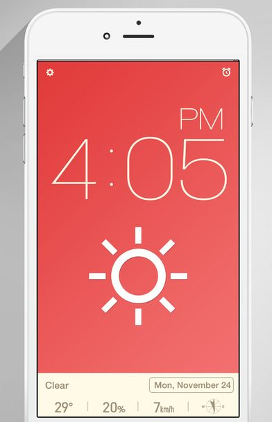 Red Clock for iPhoneis a fine if simple alarm clock/weather app