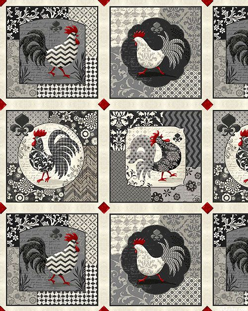 """Poulets De Provence - Patterned Roosters - 24"""" x 44"""" PANEL. by Steve Haskamp for Spectrix."""