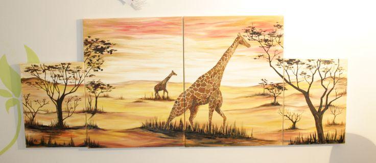 oil paint 4 pieces Africa giraffe